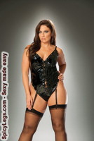 Lace up vinyl thong back teddy with detachable garters