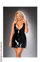 Deep V vinyl halter dress