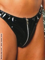 Zip up vinyl thong