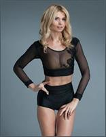 See Thru Aplique Long Sleeves Crop Top Black
