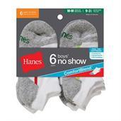 Hanes Boys' No-Show ComfortBlend Assorted White Socks 6-Pack