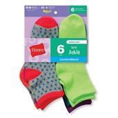 Hanes Girls' Fashion ComfortBlend Ankle Socks 6-Pack