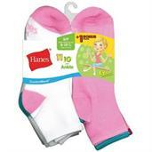 Hanes ComfortBlend EZ-Sort Girls' Ankle Socks 11-Pack (Includes 1 Free Bonus Pair)