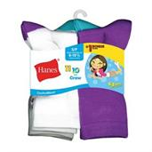Hanes ComfortBlend EZ-Sort Girls' Crew Socks 11-Pack (Includes 1 Free Bonus Pair)