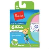 Hanes Girls' Cool Comfort Briefs with Cool Dri 6-Pack