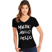 Hanes Women's Hello Hello Hello Short-Sleeve V-Neck Graphic Tee