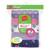 Hanes Ultimate Girls' Stretchy Comfy Cotton Briefs 5-Pack