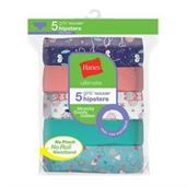 Hanes Ultimate Girls' Cotton Stretch Hipsters 5-Pack