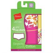Hanes Ultimate TAGLESS Cotton Stretch Girls' Boy Shorts 4-Pack