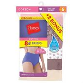 Hanes Women's Brief 8-Pack (6+2 Free Bonus Pack)