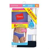 Hanes Cool Comfort Women's Cotton Sporty Hipster Panties 8-Pack (6+2 Free Bonus Pack)