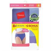 Hanes Cool Comfort Cotton Hi-Cut Panties 6-Pack (Includes 2 Free Bonus Panties)