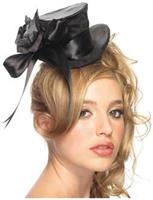 Satin top hat with flower and bow accent