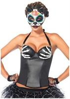 Latex bony hands wet look underwire halter corset