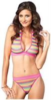 2 PC. Net rainbow striped halter bra top