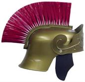 Roman Helmet Gold With Red Brush