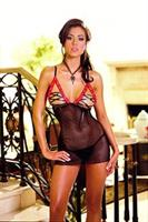 Babydoll With Thong Black Red