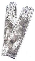 Elbow Length Siver Metallic Stretch Nylon Gloves