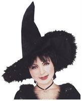Witch Hat With Marabou Trim