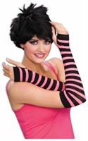 Gloves Striped Black And Pink