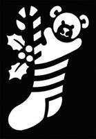 Stencil Stocking Bear Brass