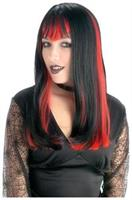 Widow Black Wig With Red