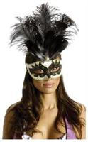 Carnival Mask Big Feather Black/Gold