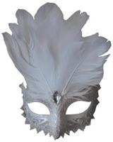 White Silver Carnivale Eye Mask