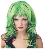 Hard Rockin Witch Black Green Wig