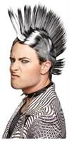 Mohawk Black White Wig