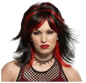 Wig Rocker Unisex  Black /Red