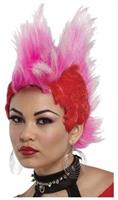 Double Mohawk Wig Red Hot Pink