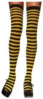 Stockings Thigh High Striped Black/Yellow