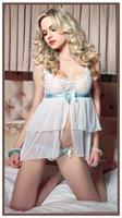 Babydoll & G-String Set Sheer White/Blue