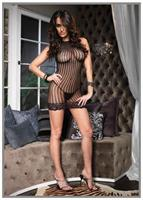 Crochet Net Mini Dress Black One Size