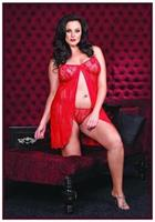 Lace Open Front Babydoll With G-String Red