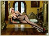 Net Bodystocking With Ribbon Black/Red