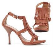 Brown Fringe High Heel Adult Shoes