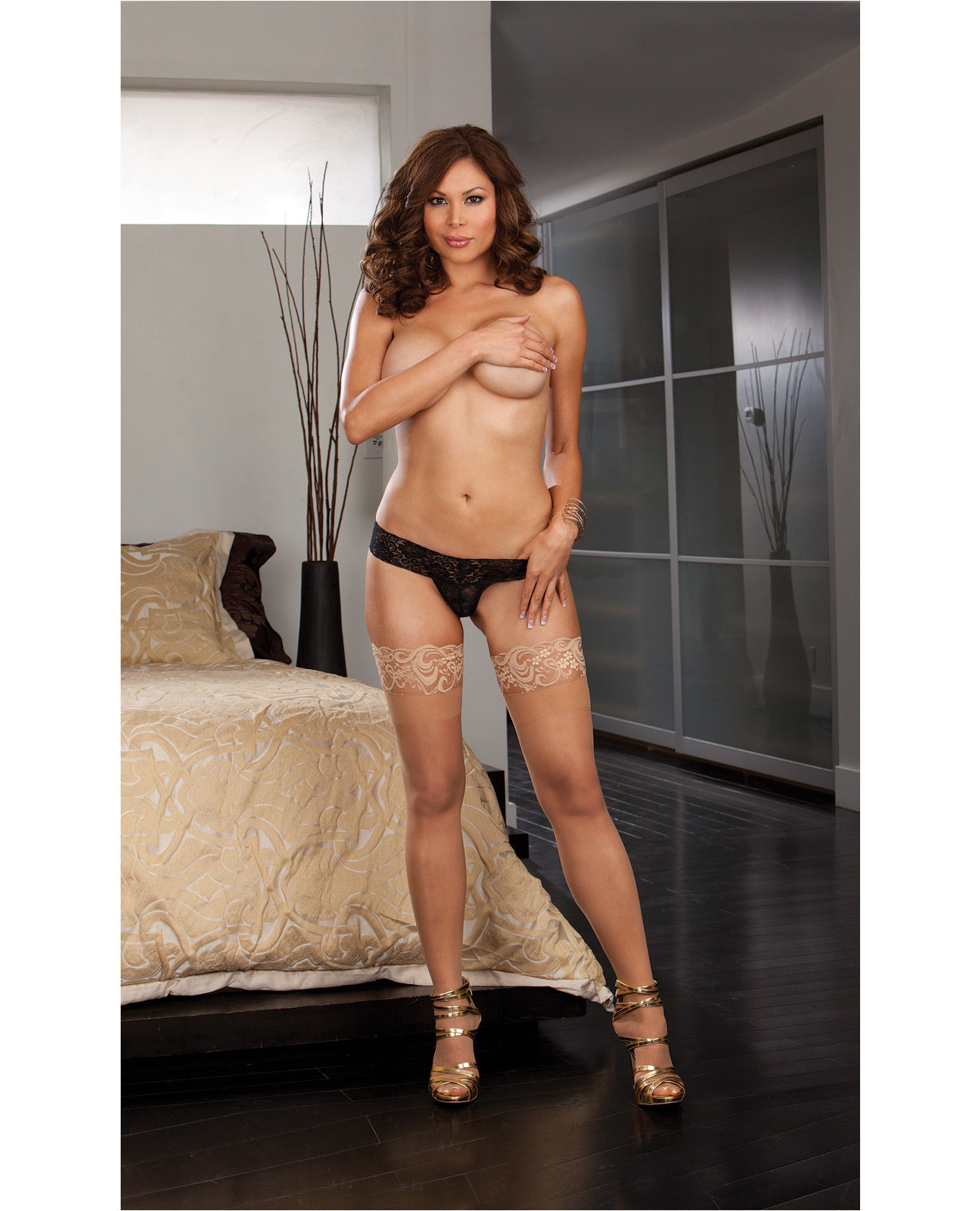 Nude Stockings With Ivory Lace Top