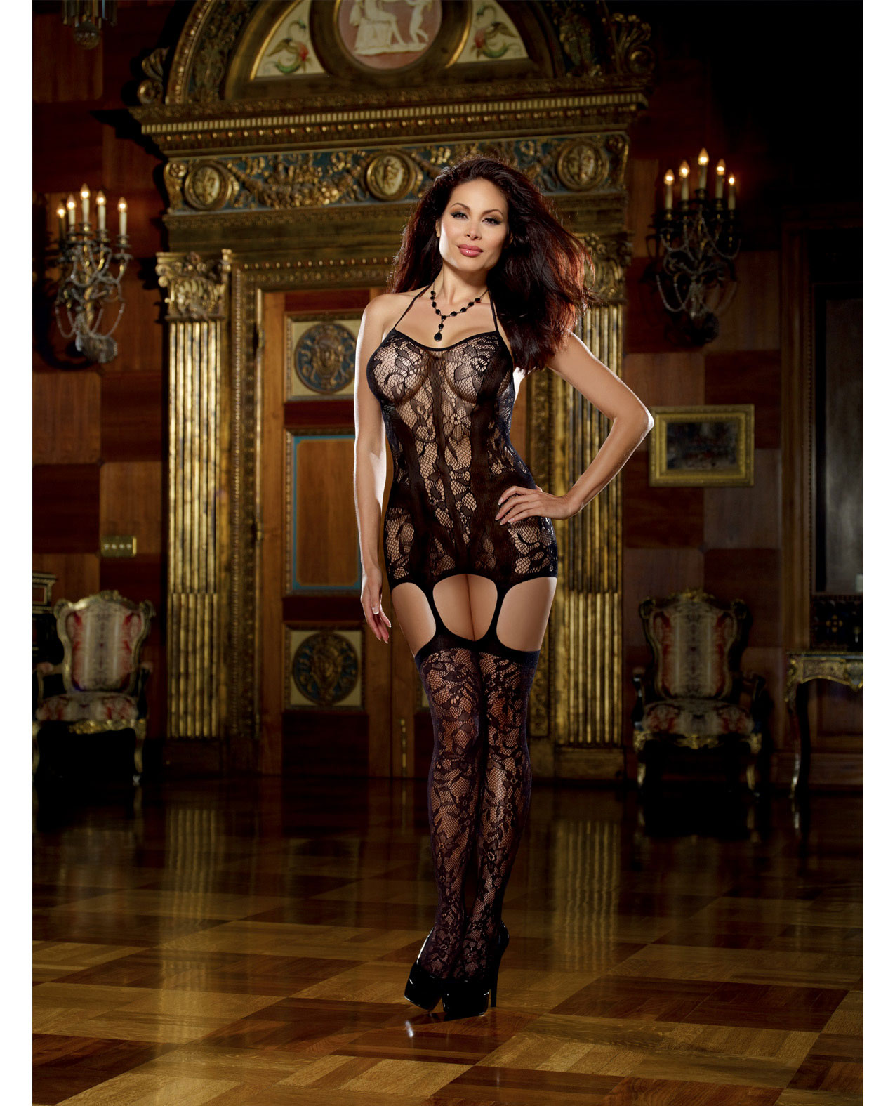 Lace Fishnet Halter Garter Dress With Attached Stockings Spicylegs Com